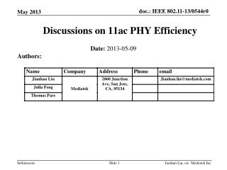 Discussions on 11ac PHY Efficiency