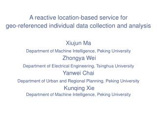 A reactive location-based service for  geo-referenced individual data collection and analysis