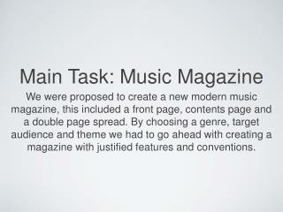 Main Task: Music Magazine