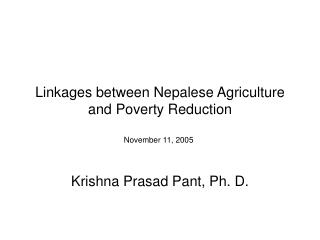 Linkages between Nepalese Agriculture and Poverty Reduction