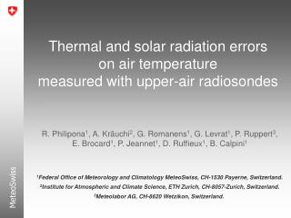 Thermal and s olar  r adiation errors o n air  temperature