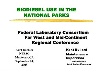 BIODIESEL USE IN THE NATIONAL PARKS