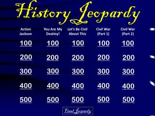 History Jeopardy