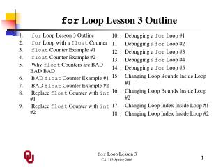 for  Loop Lesson 3 Outline