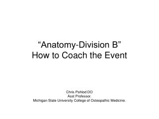 """Anatomy-Division B"" How to Coach the Event"