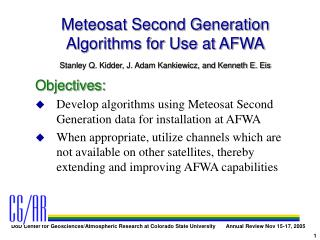 Meteosat Second Generation Algorithms for Use at AFWA