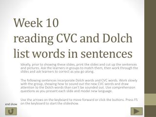 Week 10 reading CVC and Dolch list words in sentences