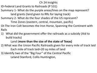 Ch 24 Insights ID-Federal  Land Grants to Railroads (P 531)