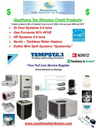 Qualifying Tax Stimulus Credit Products : St Cool Systems 2-4 tons Gas Furnaces 95% AFUE