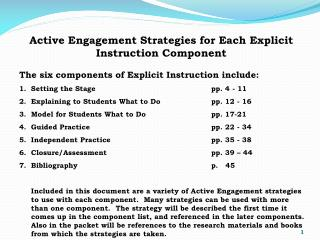 Active Engagement Strategies for Each Explicit Instruction Component