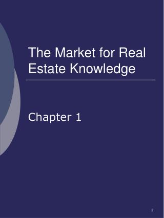 The Market for Real Estate Knowledge
