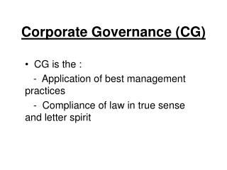 Corporate Governance (CG)
