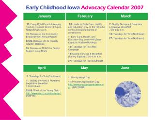 Early Childhood Iowa Advocacy Calendar 2007