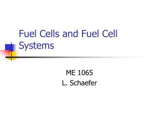 Fuel Cells and Fuel Cell Systems