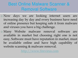 Best Online Malware Scanner & Removal Software