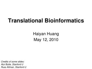 Translational Bioinformatics