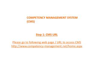 COMPETENCY MANAGEMENT SYSTEM (CMS)