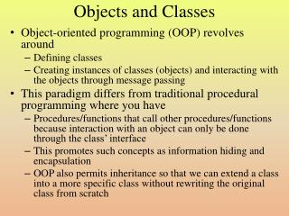 Objects and Classes