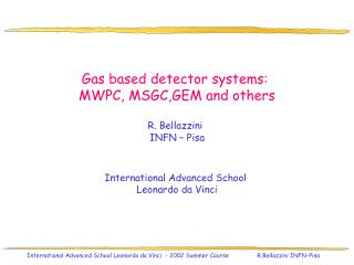 Gas based detector systems:  MWPC, MSGC,GEM and others R. Bellazzini INFN – Pisa
