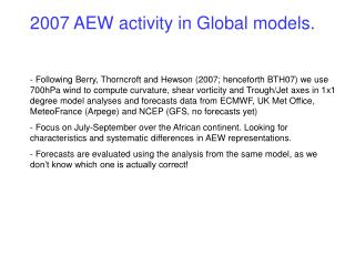 2007 AEW activity in Global models.