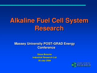 Alkaline Fuel Cell System Research