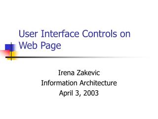 User Interface Controls on Web Page