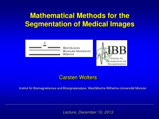 Mathematical Methods for the  Segmentation of Medical Images