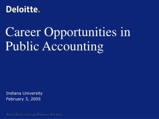 Career Opportunities in Public Accounting