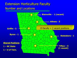 Extension Horticulture Faculty  Number and Locations