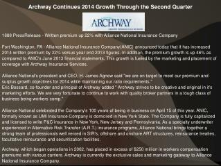 Archway Continues 2014 Growth Through the Second Quarter