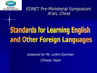 EDNET Pre-Ministerial Symposium  Xi ' an, China