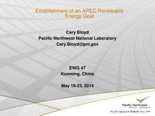 Establishment of an APEC Renewable Energy Goal