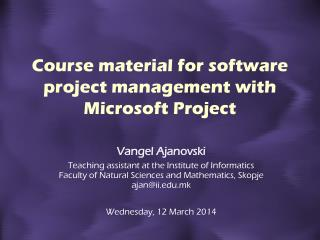 Course material for software project management with Microsoft Project