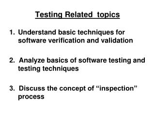 Testing Related  topics