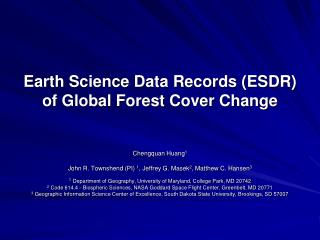 Earth Science Data Records (ESDR) of Global Forest Cover Change