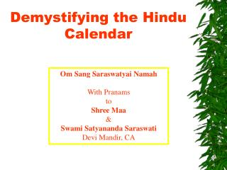 Demystifying the Hindu Calendar