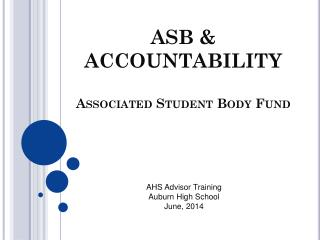 ASB & ACCOUNTABILITY Associated Student Body Fund