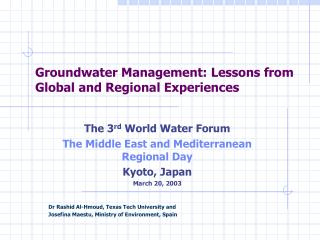 Groundwater Management: Lessons from Global and Regional Experiences