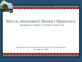Special Assessment District Ordinance