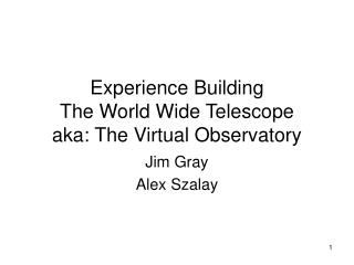 Experience Building  The World Wide Telescope  aka: The Virtual Observatory