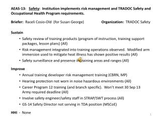 Briefer:   Raceli  Cosio -Old  (for Susan George)                    Organization:   TRADOC Safety