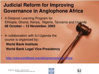 Judicial Reform for Improving Governance in Anglophone Africa