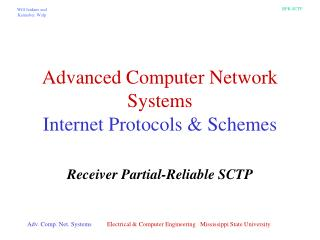 Advanced Computer Network Systems Internet Protocols & Schemes