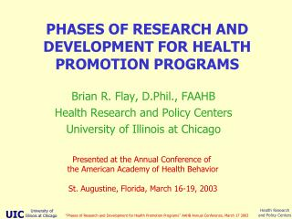 PHASES OF RESEARCH AND DEVELOPMENT FOR HEALTH PROMOTION PROGRAMS