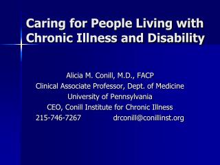 Caring for People Living with Chronic Illness and Disability