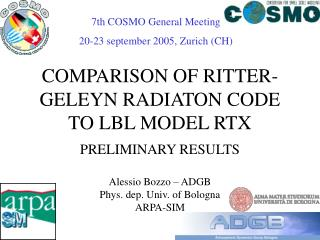 COMPARISON OF RITTER-GELEYN RADIATON CODE TO LBL MODEL RTX
