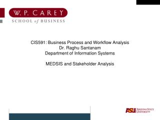CIS591: Business Process and Workflow Analysis Dr. Raghu Santanam