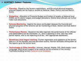 HORTNET- Salient  Features