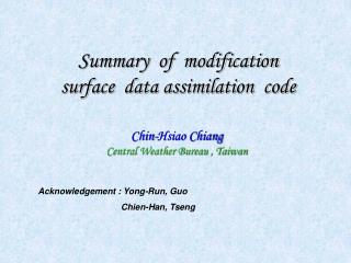 Summary  of  modification   surface  data assimilation  code