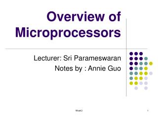 Overview of Microprocessors